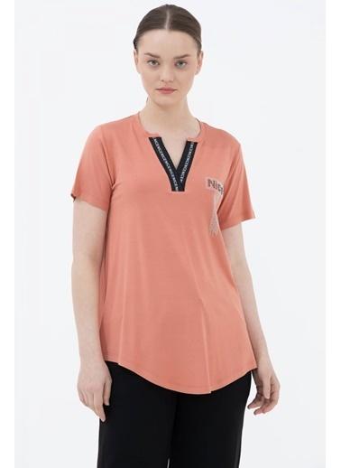 Sementa V Yaka Şerit Detaylı Tshirt - Somon Somon